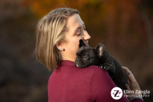 Photo of woman with French Bulldog Puppy