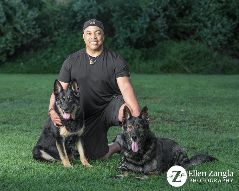 Photo of man with his two German Shepherds taken in Loudoun County VA by Ellen Zangla Photography