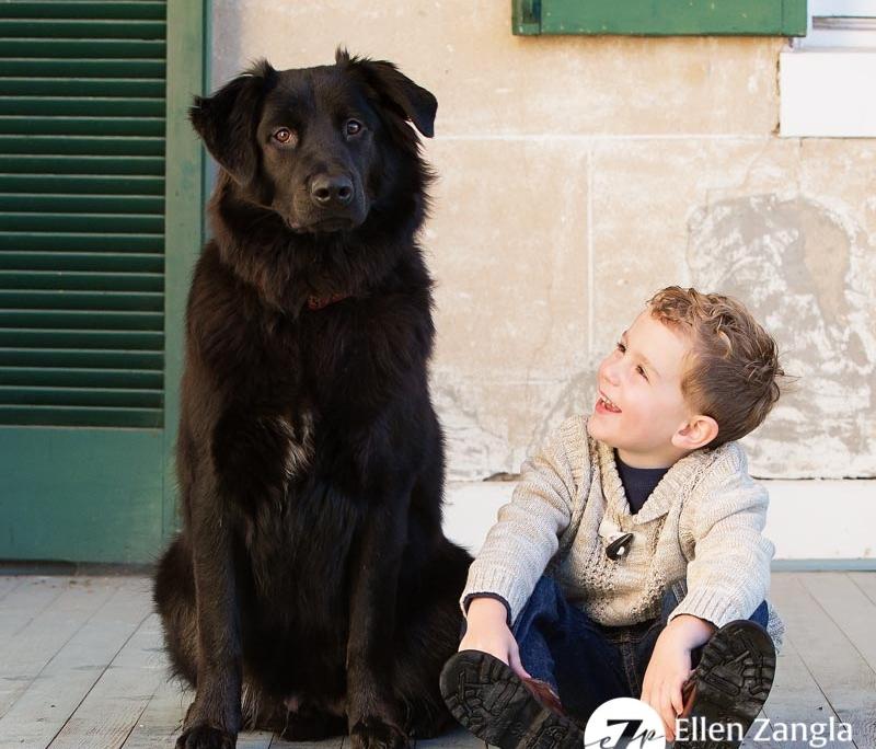 Photo of boy with his dog taken in Leesburg VA by Ellen Zangla Photography
