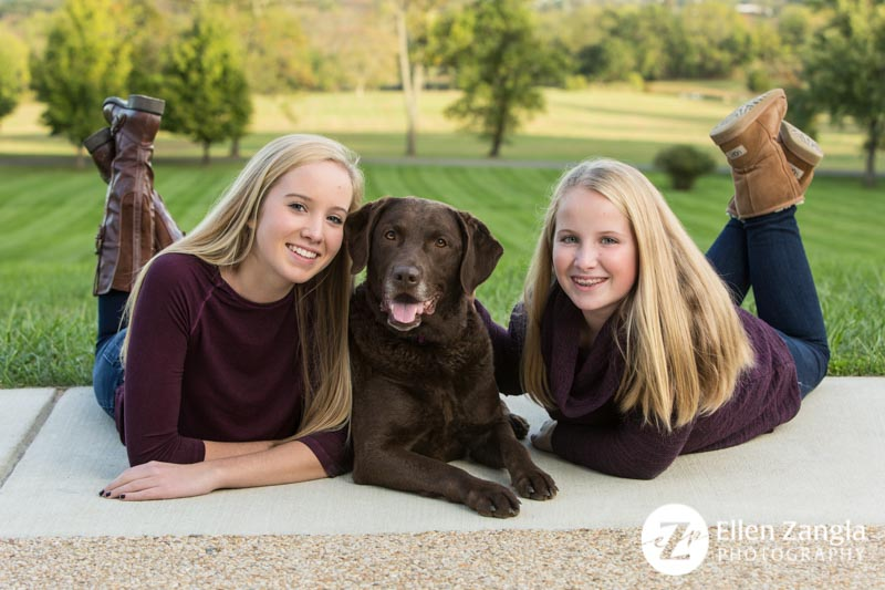Photo of girls with their dog taken in Leesburg VA by Ellen Zangla Photography