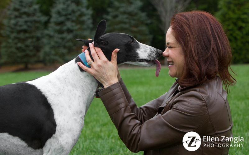 Photo of dog kissing her owner by Ellen Zangla Photography in Loudoun County VA