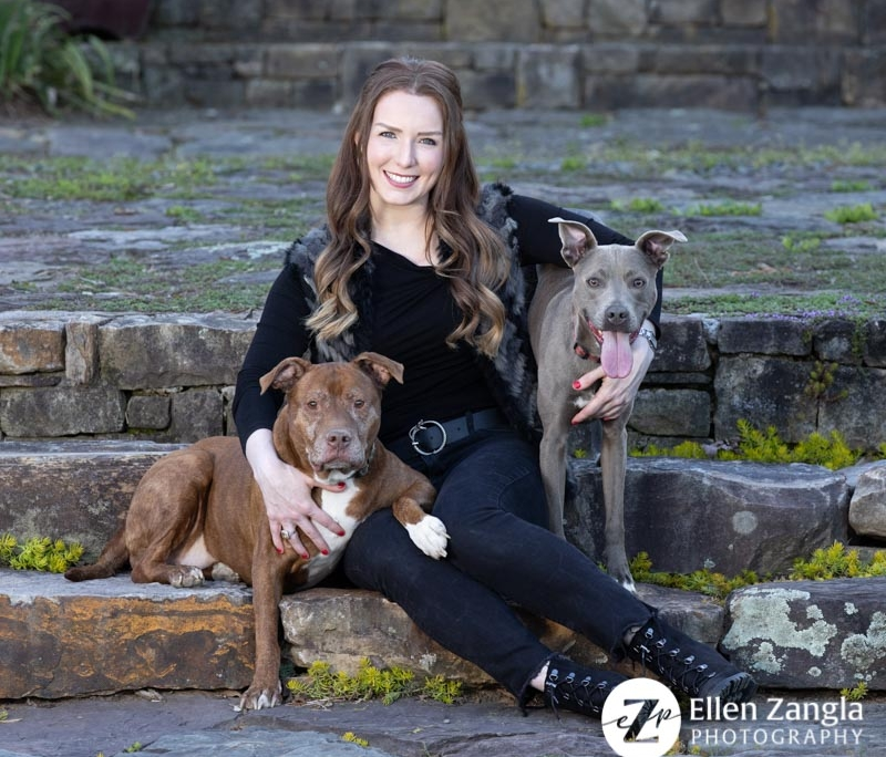 Photo of woman with her two dogs in Loudoun County VA by Ellen Zangla Photography