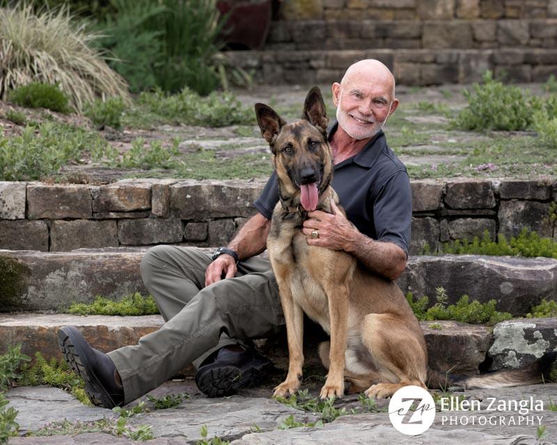 Photo of man with his Belgian Malinois dog in Loudoun County VA by Ellen Zangla Photography