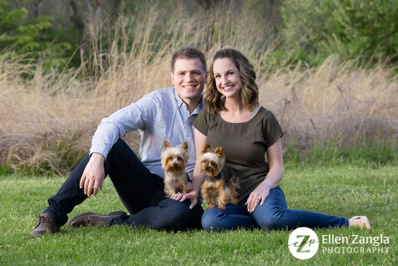 Photo of couple with their two Yorkies by Ellen Zangla Photography in Loudoun County VA