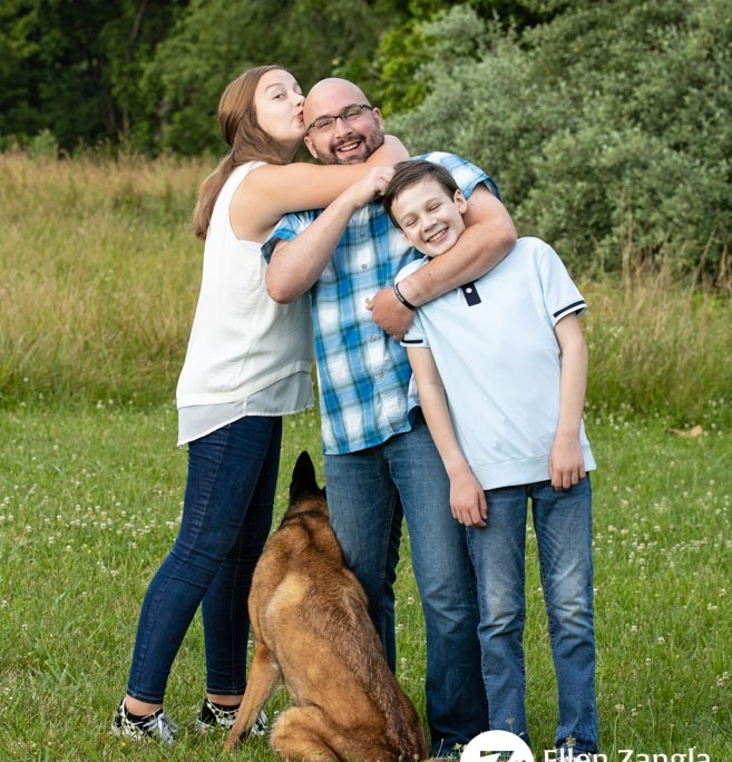 Photo of man with his two children and Belgian Malinois dog in Loudoun County VA by Ellen Zangla Photography