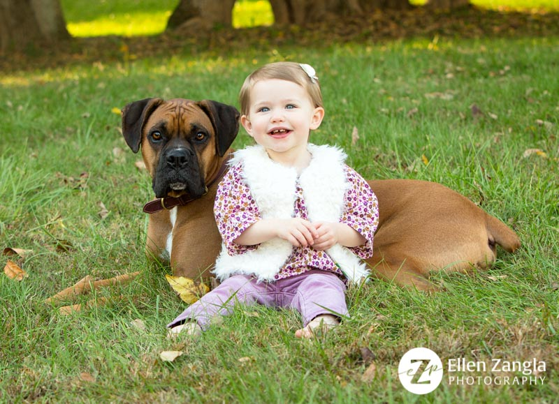 Photo of little girl and her dog by Ellen Zangla Photography in Leesburg VA